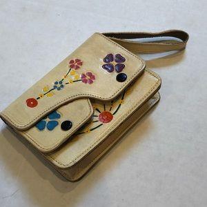 Vintage leather floral wallet painted